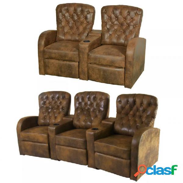 VidaXL - Sofás reclinables 2+3 plazas cuero artificial