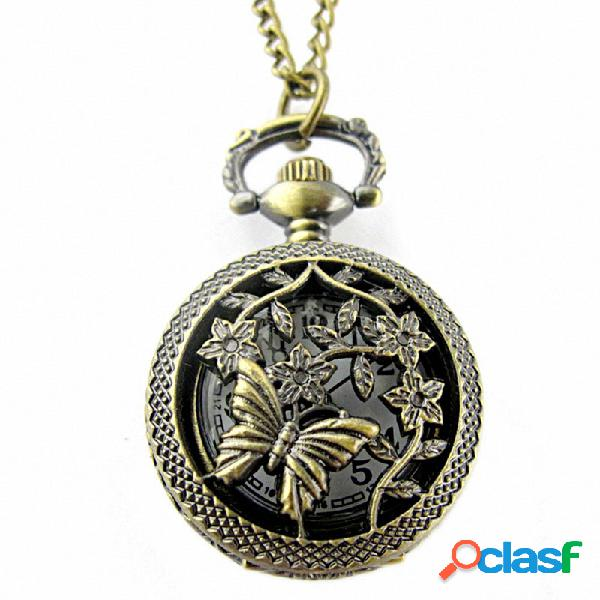 Vintage hueco mariposa reloj de bolsillo patrón de flores