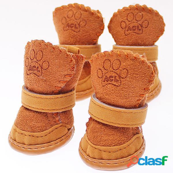 Winter Cat Dog Shoes Pet Dog Warm Snow Boots Suede Pet Shoes