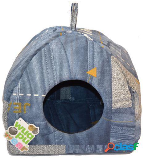 Wuapu Cama Igloo Jeans Acolchada para Gatos 44x44 cm