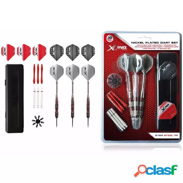 XQmax Darts Set de dardos niquelados 30 pzas 21g punta acero