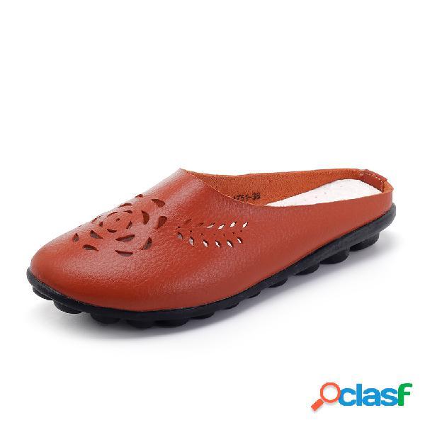 Zapatos casuales planos cómodos suaves de cuero hueco sin