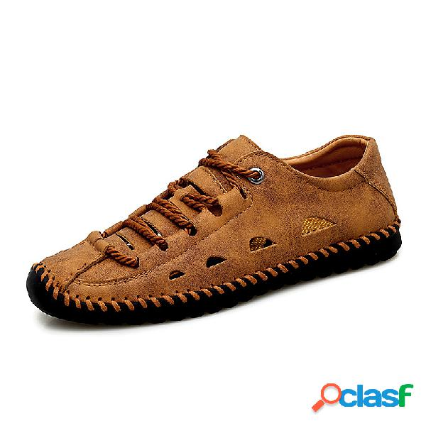 Zapatos de agua de cuero de microfibra con punta de mano