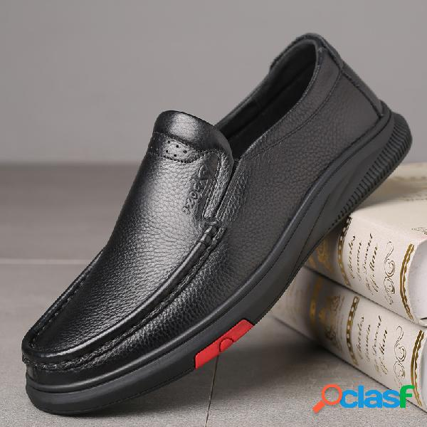 Zapatos de cuero casual de negocios con punta redonda
