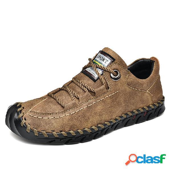 Zapatos de cuero de microfibra suela anticolisión Soft para