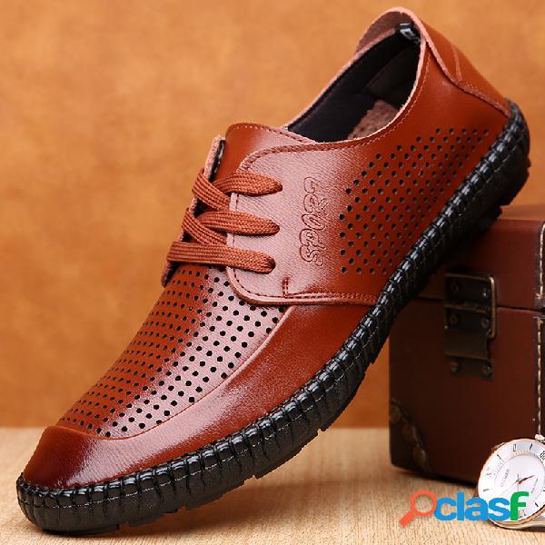 Zapatos de cuero ocasionales de negocios con costura hueca