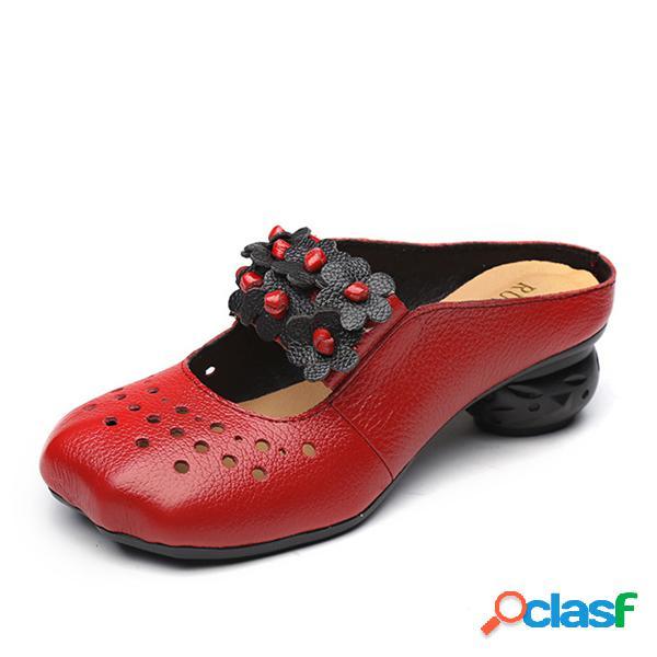 Zapatos sin respaldo de tacón medio vintage hechos a mano