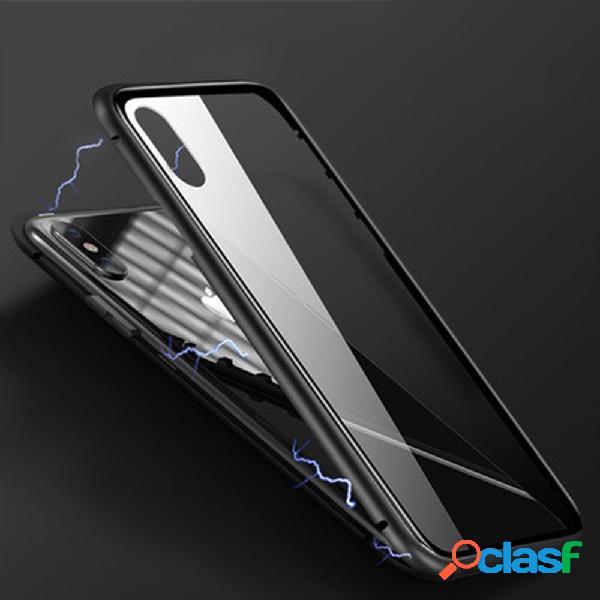 iPhone Phone Caso Marco de metal magnético de vidrio