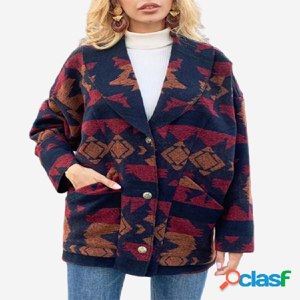 vendimia Abrigo de invierno de manga larga con cuello vuelto