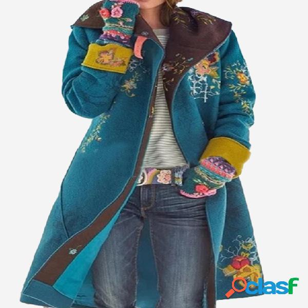 vendimia Abrigo de lana de manga larga con botones