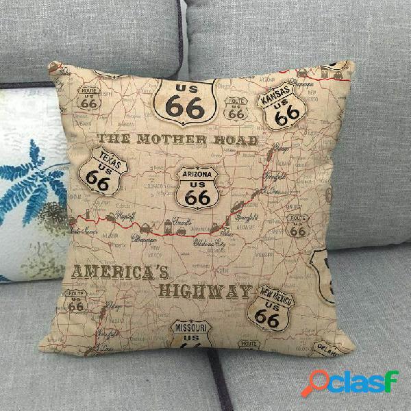 vendimia America 66 Road Patrón Funda de cojín de lino