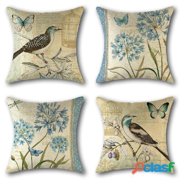 vendimia Birds Floral Impresión de Lino Throw Pillow Cover