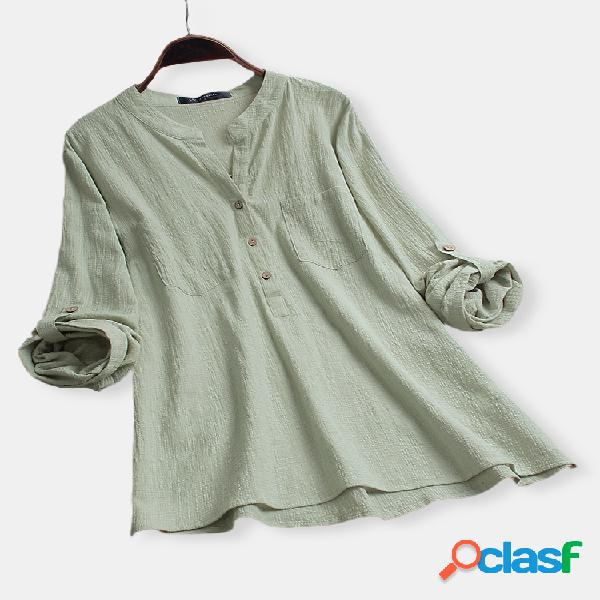 vendimia Blusa de algodón de manga larga con cuello en V de