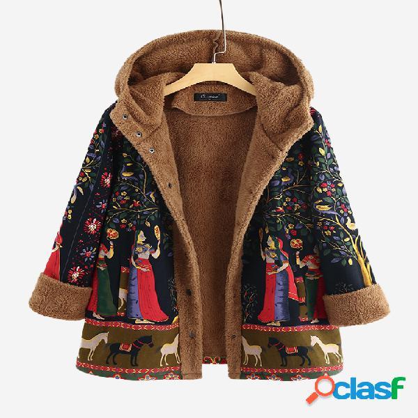vendimia Botón de vellón estampado Plus Abrigo de tamaño