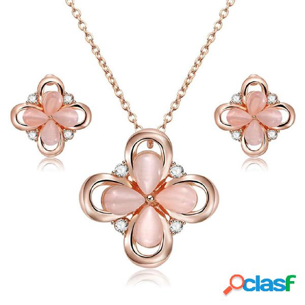 vendimia Conjuntos de joyas de cristal de cuatro hojas de