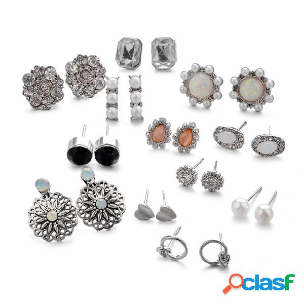 vendimia Diamante geométrico Pendiente de perla Flor de