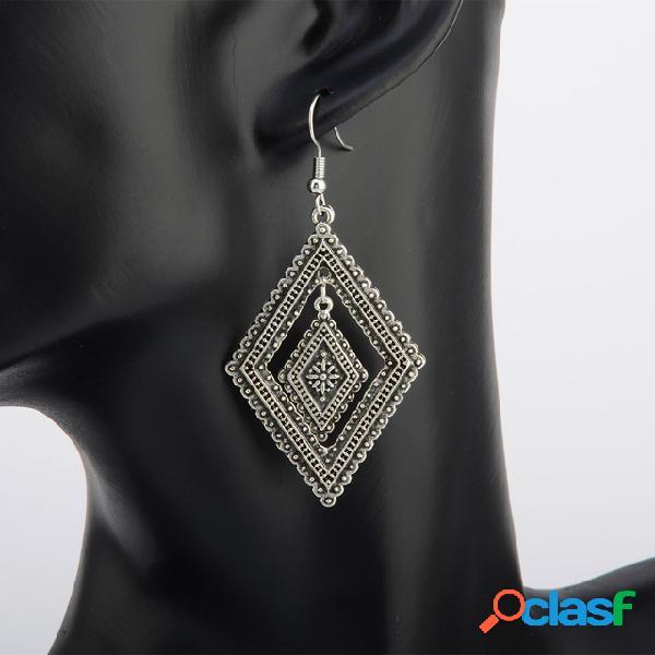 vendimia Diamante hueco geométrico Colgante Pendientes