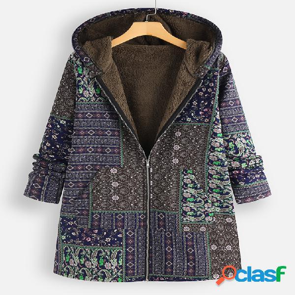 vendimia Estampado polar con capucha Plus Abrigo tamaño con