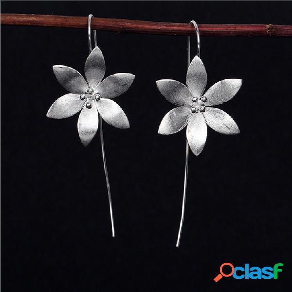 vendimia Oreja Drop Pendientes Flor de plata esterlina 925