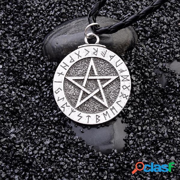 vendimia Pentagram Colgante Collar Disco de metal