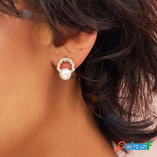 vendimia Perla de circón redondo de metal geométrico
