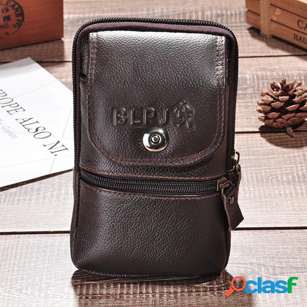 vendimia Piel Genuina 6 Inch Teléfono Bolsa Cintura Bolsa