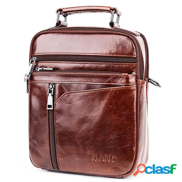 vendimia Piel Genuina Business Crossbag Bolsa Bolso de mano
