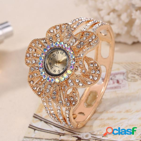 vendimia Reloj de pulsera de disco de flor grande