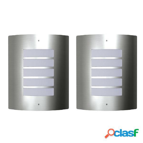 vidaXL 2 Apliques de exterior, lámparas de pared de acero