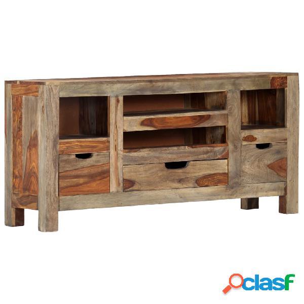 vidaXL Aparador de madera maciza de sheesham gris 100x30x50