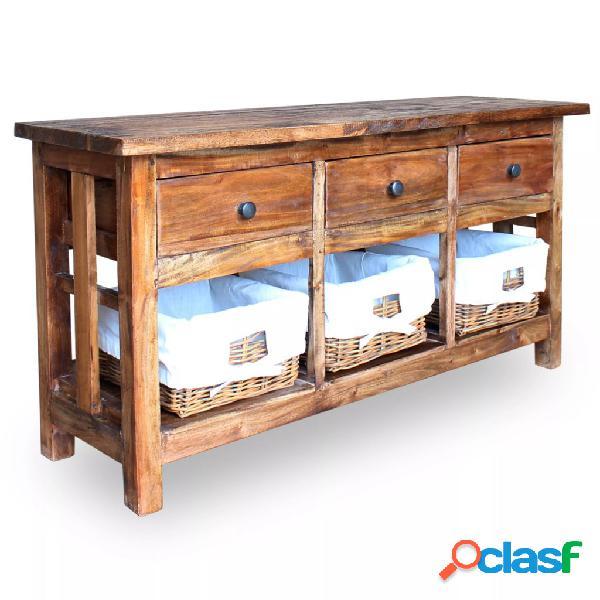 vidaXL Aparador de madera maciza reciclada 100x30x50 cm
