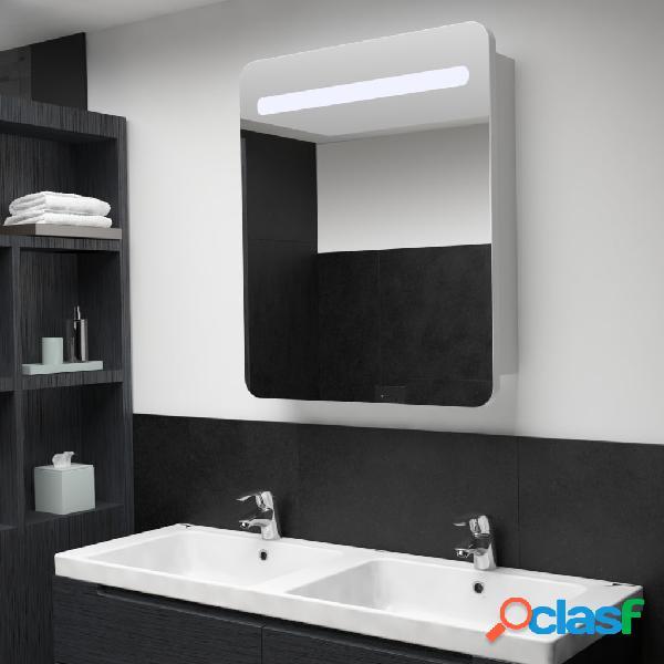 vidaXL Armario de cuarto de baño con espejo y LED 68x11x80