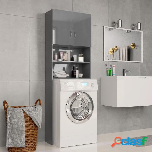 vidaXL Armario de lavadora de aglomerado gris brillante