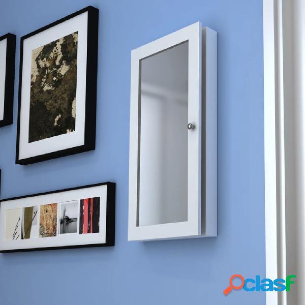 vidaXL Armario joyero de pared con espejo de madera