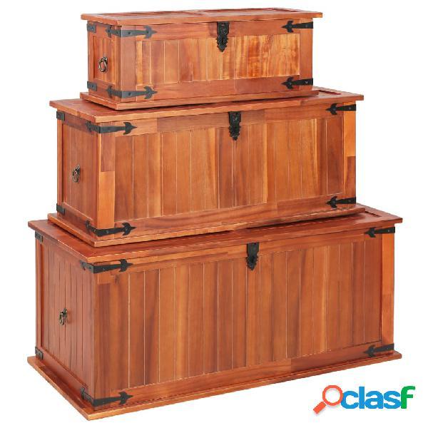 vidaXL Baúl de almacenamiento 3 piezas de madera maciza de