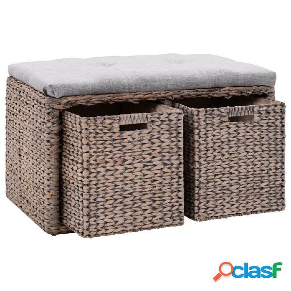 vidaXL Banco con 2 cestas hierba marina 71x40x42 cm gris