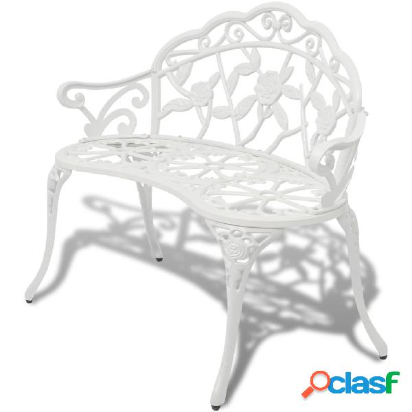 vidaXL Banco de jardín 100 cm aluminio fundido blanco