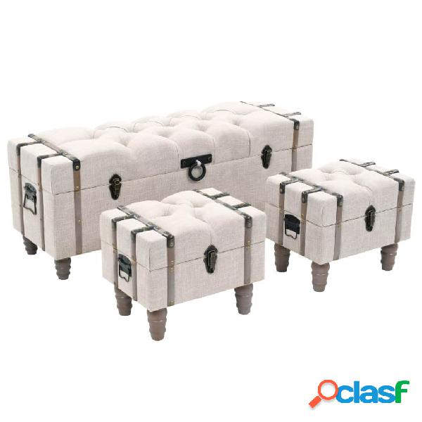 vidaXL Bancos de almacenamiento 3 piezas madera y acero