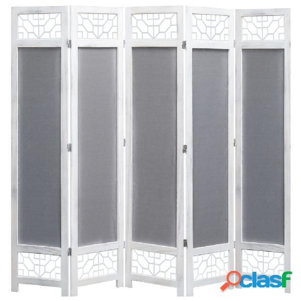 vidaXL Biombo de 5 paneles tela gris 175x165 cm