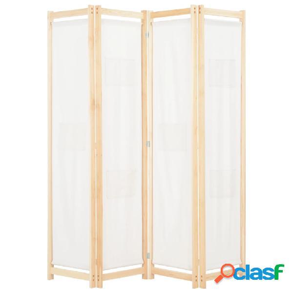 vidaXL Biombo divisor de 4 paneles de tela color crema