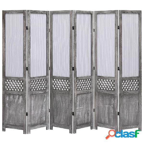 vidaXL Biombo divisor de 6 paneles de tela gris 210x165 cm