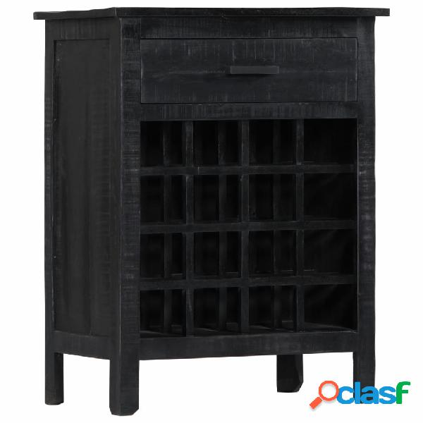 vidaXL Botellero de madera de mango maciza negro 56x35x75 cm