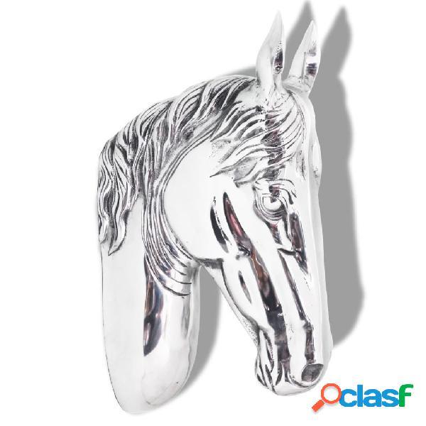 vidaXL Cabeza de caballo decorativa para pared de aluminio