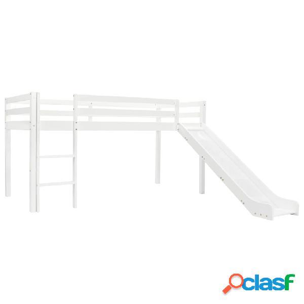 vidaXL Cama alta para niños tobogán y escalera madera pino