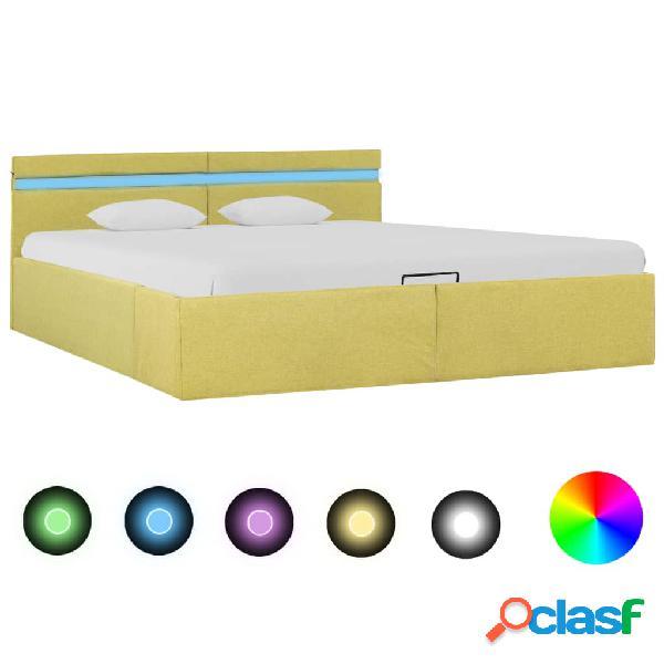 vidaXL Cama canapé hidraúlica con LED tela amarillo lima