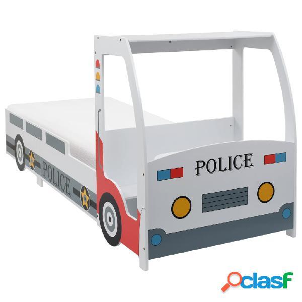 vidaXL Cama infantil coche de policía colchón