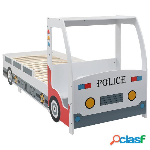 vidaXL Cama infantil forma de coche de policía y escritorio