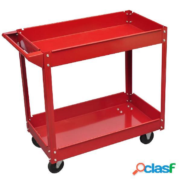 vidaXL Carrito Para Herramientas De Taller 100 Kg Rojo