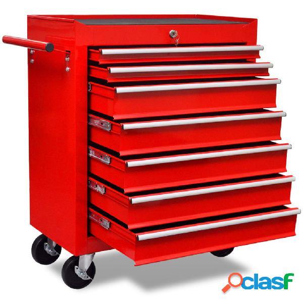 vidaXL Carrito caja de herramientas 7 cajones rojo