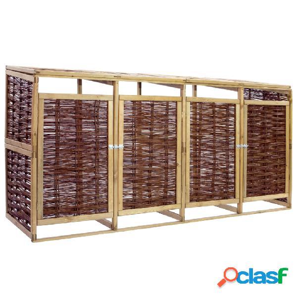 vidaXL Cobertizo cuádruple para basura madera de pino y